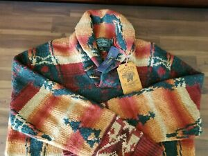 New Polo Country Ralph Lauren Southwestern Shawl Collar Wool Sweater L Hand knit