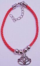 Red Braided Rope Lotus Flower Bracelet Spiritual Enlightenment Buddha Lucky