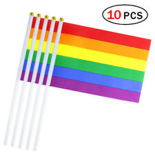 10pcs Rainbow Gay Pride Stick Flag Hand Held Small Flags Banner With Wood Stick