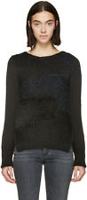 NWT Helmut Lang $540 Patchwork Wool/Angora/Alpaca Textured Sweater Black S