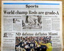 1990 headline newspaper CINCINNATI REDS WIN baseball WORLD SERIES vs OAKLAND A'S