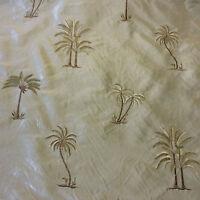 SMW20 Palm Tree Exotic Machine Woven Dupioni 100% Tropical Silk Drapery Fabric