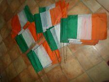 JOB LOT 28 Hand Waving Nylon Irish Eire Flags+Short Poles St Patricks Day -Sport