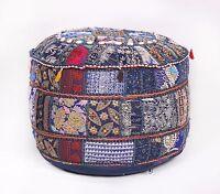 "22"" Round Pouf Ottoman Indian Pouffe Foot Stool Floor Pillow Ethnic Decor Pouf"