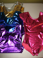 NEW Girls Leotard Bodysuit Metallic Polyester Spandex Cap Sleeved Lined USA Made