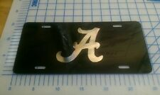 "Alabama black and chrome script ""A"" license plate tag"