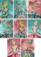 Vintage Inspired Marie Antoinette aqua pink small note cards set 8 w/envelopes