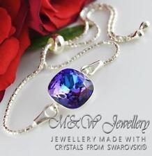 925 Silver Bracelet Crystals From Swarovski® SQUARE FANCY STONE Heliotrope 12mm