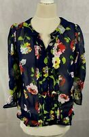 New NEXT Ladies Women's Chiffon Navy Floral Pintuck Collar Blouse Top Size 8
