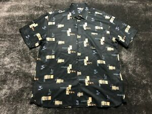 Nat Nast Silk Men's Short Sleeve Button Front Black Camp Hawaiian Shirt L Large