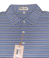 NWT Peter Millar Polo Golf Shirt Crown Sport S/S Blue Striped Size Small