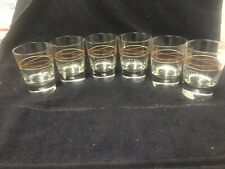 New listing Set of 6 Bailey's Irish Cream Rock Glasses Swirled line pattern & Bubble Bottom