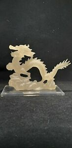 Clear resin Dragon Statue Feng Shui style Chinese oriental height 23 cm