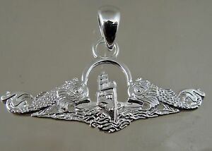 US Navy licensed Submarine dolphin pendant regulation solid NEW ! .925 sterling