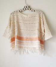 NWT FREE PEOPLE Sweet Popover Sweater Pullover Cream Sz S $128