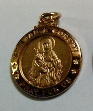 Saint Maria Goretti gold over sterling silver medal pendant
