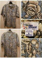 REYN SPOONER Hawaiian 1/2 Button Shirt Size Large Aloha Camp Floral Print S/S