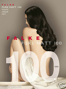 Falke Pure Matt 100 Tights Opaque Color  Anthracite Size: Medium 40110 - 12