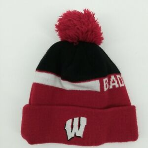Adidas Wisconsin Badgers Red Beanie Boys Size 8-20  Winter Hat Embroidered Snow