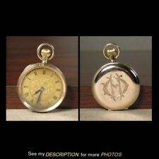 10K Gold Ladies English Pocket Watch Gold Dial w/ Floral Decoration