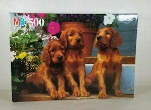 PUZZLE Milton Bradley Croxley Irish Setter Puppies 550 Piece Puzzle 1997 NEW
