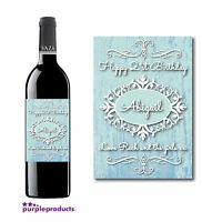 PERSONALISED SHABBY CHIC Design 3 BIRTHDAY WINE LABEL 18th, 21st, 30th, 40th