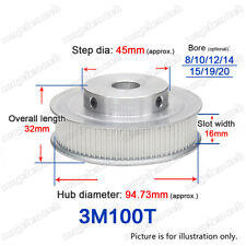 3M100T Timing Pulley 100 Teeth Gear 8-20mm Bore 3mm Pitch for 15mm Width Belt