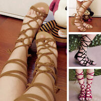 New WomenFashion Gladiator Knee High Leg Wrap Lace Up Flat Sandals Boots Shoes