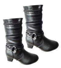 Girls Kids Childrens Zip up School Winter Casual Biker Mid Calf BOOTS Shoes UK 1 Synthetic PU Black
