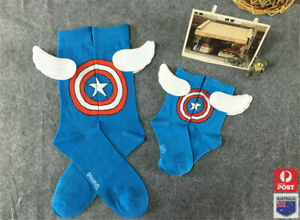 MARVEL COMICS CREW CAPTAIN AMERICA SOCKS WITH WINGS ADULT BLUE ONE SIZE FITS ALL