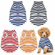 4 Pieces Dog Striped T-Shirt Dog Shirts Breathable Pet Apparel Colorful Puppy.