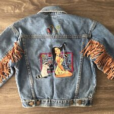 The Disney Store Vintage Pocahontas Girl's Embroidered Denim Jacket Size Small