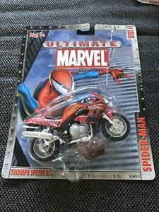 MARVEL Series #1 Spider-Man Triumph Sprint RS 1:18 Scale Motorcycle Model NOS
