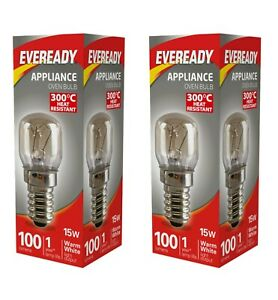 2 X Eveready 220-240V 15w 300°C Oven Cooker Hood Appliance Lamp E14 Bulb Pygmy