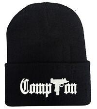 COMPTON WITH GUN LOGO BEANIE HAT WINTER CAP
