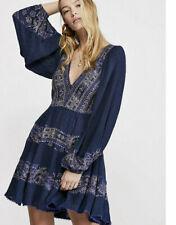 10840 New Free People FP My Love Plunging V Neck Pom Pom Mini Tunic Dress S