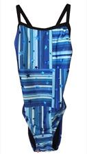 Speedo Women 28 S Performance Train II Flyback Swimsuit Blue Star Mania NWT $66