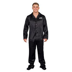 Adult Mens Grease Black T Birds Pajama Pants and Long Sleeve Shirt Set