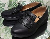 FITFLOP BLACK LEATHER LOAFERS SLIP ONS COMFORT DRESS WORK SHOES US WOMENS SZ 9