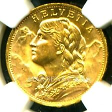 SWITZERLAND 1930 B GOLD COIN 20 FRANCS * NGC CERTIFIED GENUINE MS 65 * PRISTINE