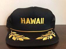 c83c527c866 Vintage Hawaii Snapback Hat Cap Mesh Trucker Black Embroidered Flat Bill  NOS New