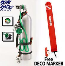 OXYGEN DECO STAGE SET 30 CF TANK DIN REGULATOR O2 CLEAN TEC DIVE FREE Deco Marke