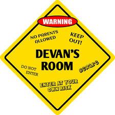 """*Aluminum* Devan's Room Kids Room Door 12""""x12""""  Metal Novelty Sign"""