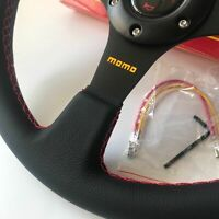 340mm Leather with Red Stitching Steering Wheel Flat  Racing  Drift Rally