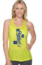 Ladies Puma Essential Drilease t-shirt vest in Lemon  Gym Running yoga sports
