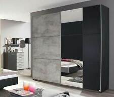 Rauch 'Lenny' Sliding Door Wardrobe, Concrete & Anth. German Bedroom Furniture.