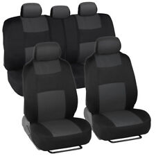 Universal Car Seat Covers w/ Split Bench Zippers for SUV Van Truck - Charcoal