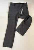 NWT Loft Women's Black Grey Mid Rise Straight Wide leg Textured Trousers Pants 0