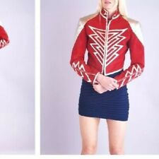 Vtg 70s 80s metallic leather + red suede moto jacket Glam Rock Sz S/M