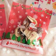 100pcs Santa Claus Candy biscuits ABS Packaging Storage Clear Bag For Christmas